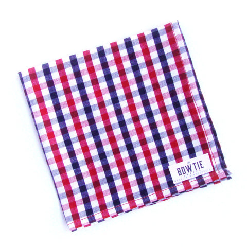 Red, White and Blue Check Pocket Square