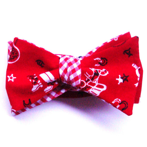 Giddy up!  Deep Red Covered Wagon Bow Tie