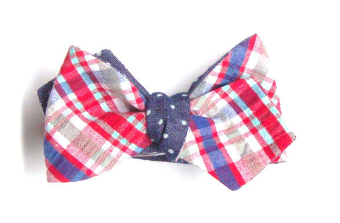 Plaid Seersucker and Polka Dot Reversible Bow Tie