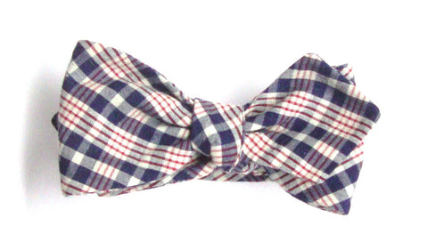 Americana Plaid Seersucker Bow Tie