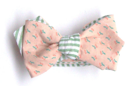Peach Floral Reversible Bow Tie