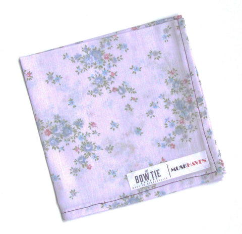 Pale Lavender Floral Bouquet Muskhaven Pocket Square