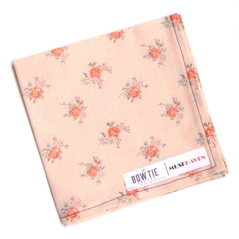 Light Peach Floral Bouquet Muskhaven Pocket Square