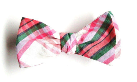 Pink Madras Plaid Bow Tie