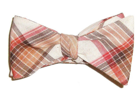 Brown Plaid Bow Tie