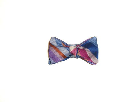 Purple and blue plaid bow tie
