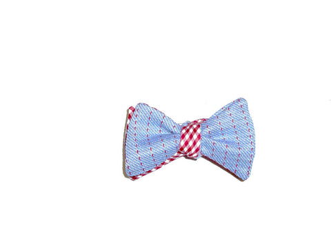 Light Blue and Red Gingham Bow Tie