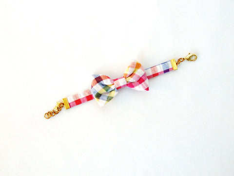 Multicolor Gingham Seersucker Bow Bracelet