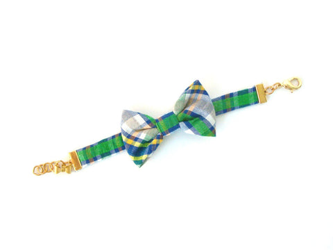 Green Plaid Seersucker Bow Bracelet
