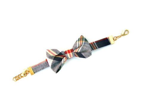 Madras Plaid Bow Bracelet