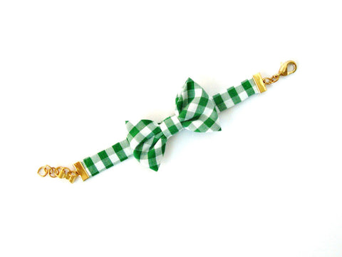 Green Gingham Bow Bracelet