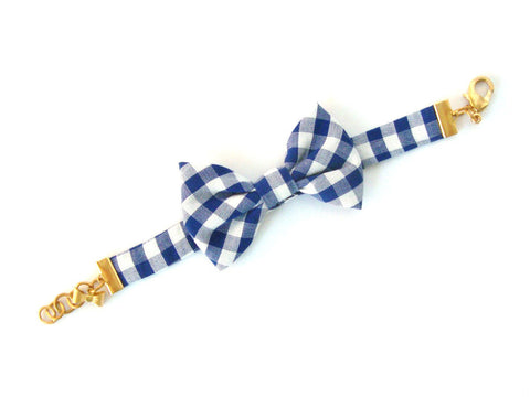 Blue Gingham Bow Bracelet