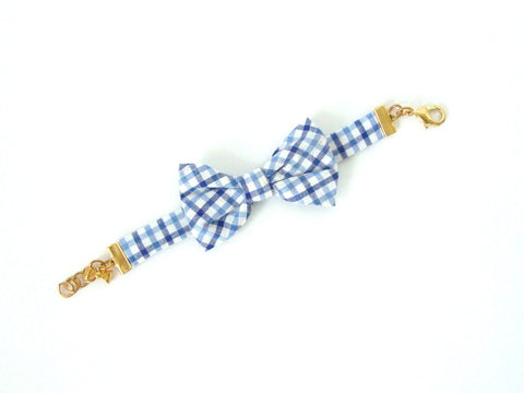 Blue Check Bow Bracelet