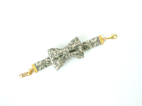 Grey and Gold Jacquard Bow Bracelet