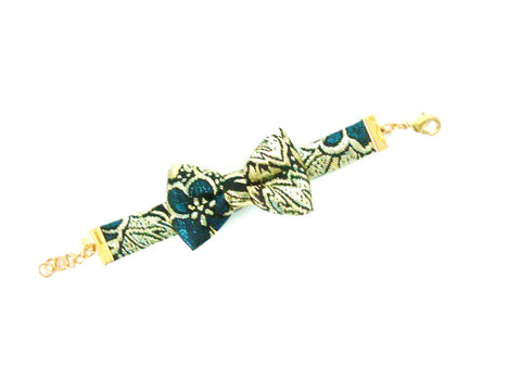 Fancy Peacock and Gold Bow Bracelet