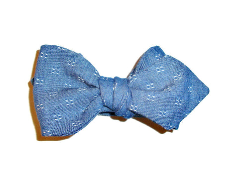 Denim Dot  Bow Tie