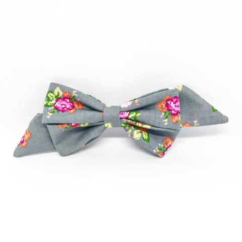 Mademoiselle Pet Bow in Spring Bouquet (Grey)