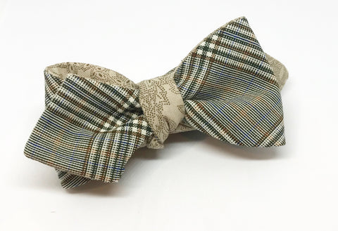 Glen Plaid and Paisley Pointillism Reversible Bow Tie