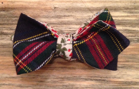 Plaid and Floral Bow TIe