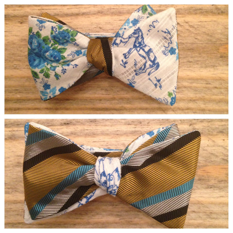 One of a Kind Floral Horse Bow Tie: Reversible