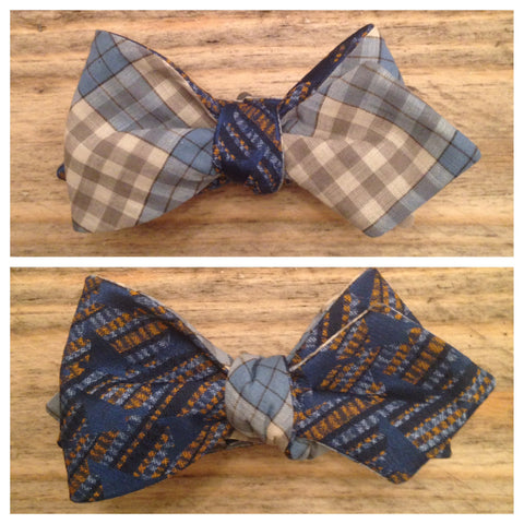 One of a Kind Light Blue Check Bow Tie: Reversible
