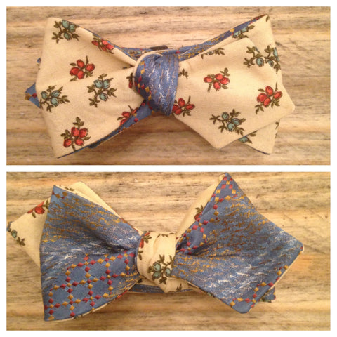One of a Kind Blue and Orange Floral Bow Tie: Reversible