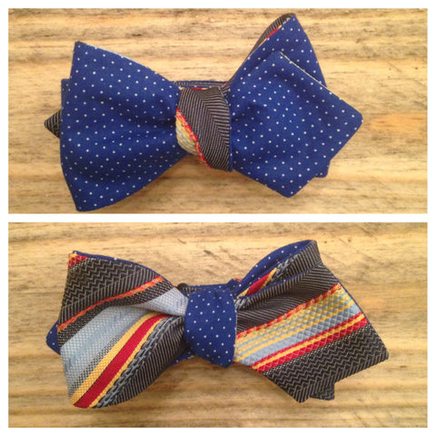 One of a Kind Blue Polka Dot Bow Tie: Reversible