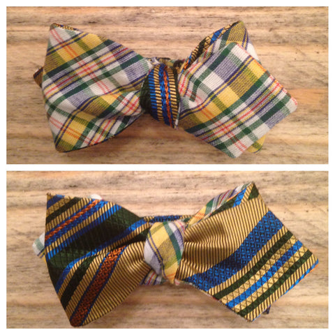 One of a Kind Green and Yellow Plaid Bow Tie: Reversible
