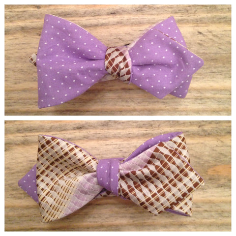 One of a Kind Lilac Polka Dot Bow Tie: Reversible