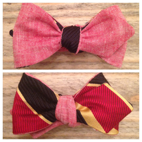 One of a Kind Red Chambray and Stripe Bow Tie: Reversible