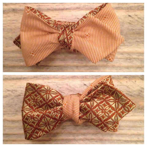 One of a Kind Gold Medallion Bow Tie: Reversible