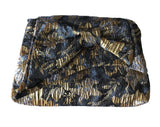 Bow Clutch in Charcoal and Gold Metallic Jacquard