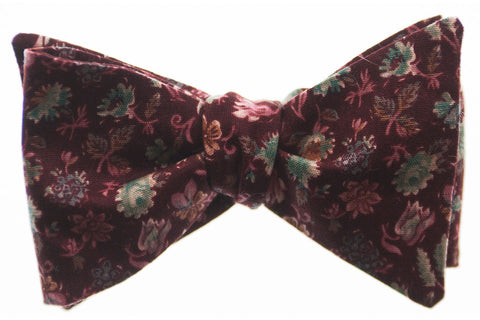 Wine Floral Bow Tie