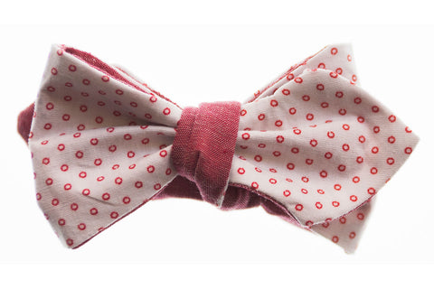 Red Chambray and Circles Reversible Bow Tie