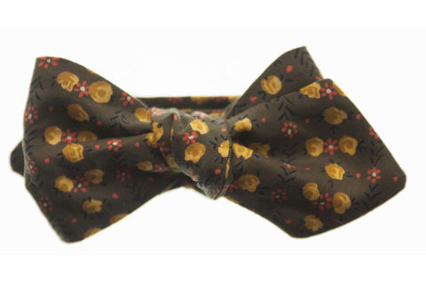 Olive Floral Bow Tie