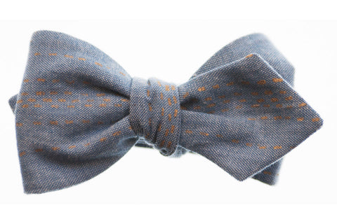 Gold Dash Denim Bow Tie