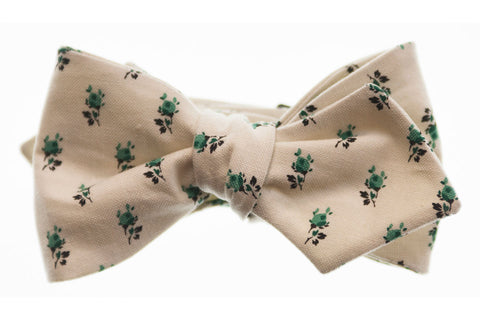 Green and Ivory Floral Bow Tie