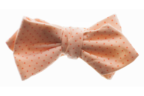 Peach Pin Dot Bow Tie