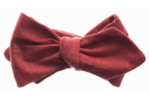 Vintage Red Chambray Bow Tie