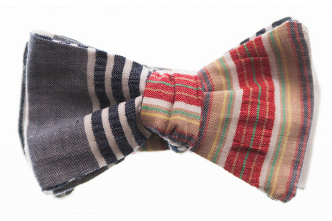 Multi Stripe Seersucker Bow Tie
