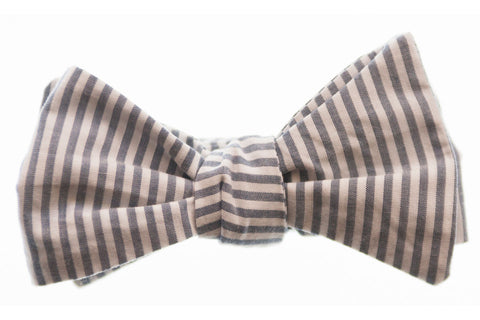 Grey Stripe Bow Tie