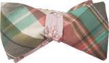 Team Jakey Reversible Plaid and Cherry Blossom Bow Tie
