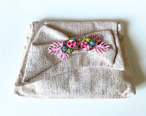 Embellished Bow Clutch in Soft Pink Matelasse