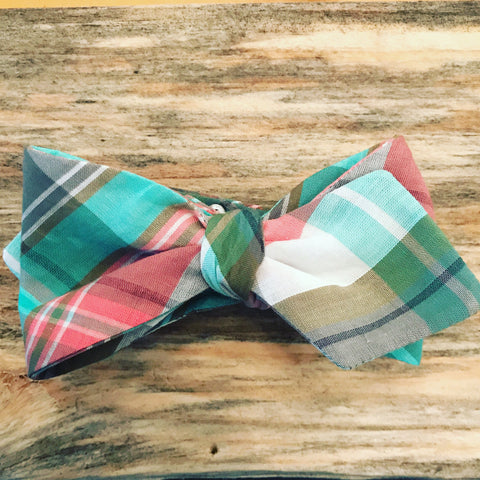 Pastel Madras Plaid Bow Tie