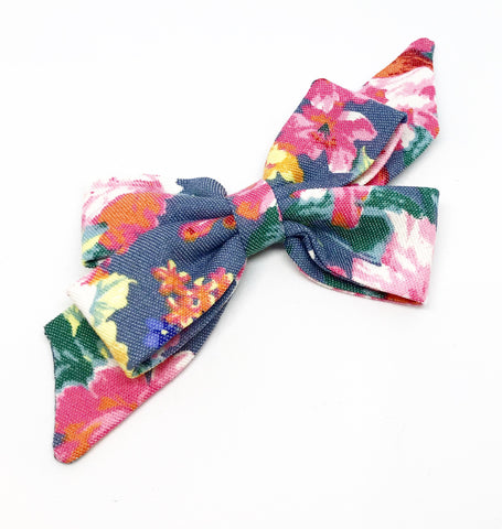 Mademoiselle Pet Bow in Tropical Floral (denim)