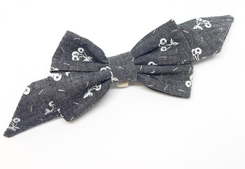 Mademoiselle Pet Bow in Cherries Jubilee (Black Chambray)