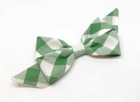 Mademoiselle Pet Bow in Sage Gingham