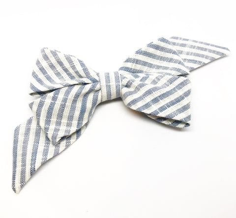 Mademoiselle Pet Bow in Linen Stripe