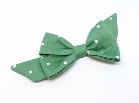 Mademoiselle Pet Bow in Sage Polka Dot