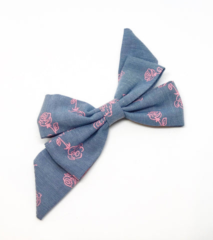 Mademoiselle Pet Bow in Stop and Smell the Roses (Pink)